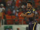 Javon Searles reacts in the field, Sunrisers Hyderabad v Kolkata Knight Riders, IPL 2018, Hyderabad, May 19, 2018