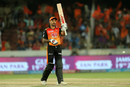 Shikhar Dhawan celebrates his half-century, Sunrisers Hyderabad v Kolkata Knight Riders, IPL 2018, Hyderabad, May 19, 2018