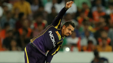 Sunil Narine in his follow through