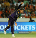 Sunil Narine in his follow through, Sunrisers Hyderabad v Kolkata Knight Riders, IPL 2018, Hyderabad, May 19, 2018