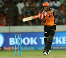 Manish Pandey flays one through the off side, Sunrisers Hyderabad v Kolkata Knight Riders, IPL 2018, Hyderabad, May 19, 2018