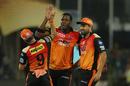Carlos Brathwaite celebrates a wicket, Sunrisers Hyderabad v Kolkata Knight Riders, IPL 2018, Hyderabad, May 19, 2018
