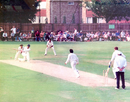 Mushtaq Ahmed bowling to Nick Folland of Minor Counties, Minor Counties v Pakistanis, Marlow, July 30, 1992