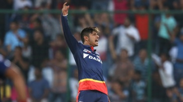 Sandeep Lamichhane exults after picking up a wicket