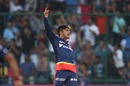 Sandeep Lamichhane exults after picking up a wicket, Delhi Daredevils v Mumbai Indians, IPL 2018, Delhi, May 20, 2018