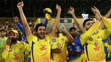 The CSK dugout celebrates the team's win in their final league match of the season