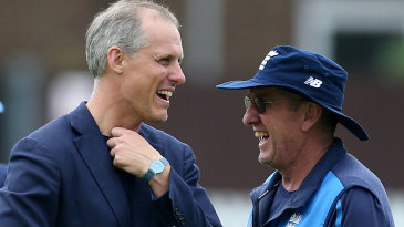 Serious business: Ed Smith and Trevor Bayliss share a laugh ahead of the first Test