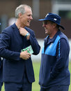 Serious business: Ed Smith and Trevor Bayliss share a laugh ahead of the first Test, Lord's, May 21, 2018