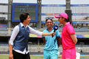 Supernovas' Harmanpreet Kaur and Trailblazers' Smriti Mandhana at the toss of the Women's T20 Challenge with Anjum Chopra, Mumbai, May 22, 2018