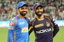 Ajinkya Rahane and Dinesh Karthik pose for the cameras, Kolkata Knight Riders v Rajasthan Royals, IPL 2018, Eliminator, Kolkata, May 23, 2018