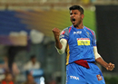 K Gowtham punches in the air, Kolkata Knight Riders v Rajasthan Royals, IPL 2018, Eliminator, Kolkata, May 23, 2018