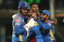 K Gowtham is mobbed by his team-mates, Kolkata Knight Riders v Rajasthan Royals, IPL 2018, Eliminator, Kolkata, May 23, 2018