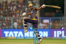 Andre Russell loses his grip while pulling one away, Kolkata Knight Riders v Rajasthan Royals, IPL 2018, Eliminator, Kolkata, May 23, 2018