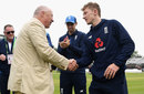 Vic Marks hands fellow Somerset spinner Dom Bess his cap, England v Pakistan, 1st Test, Lord's, 1st day, May 24, 2018