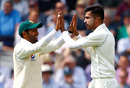 Mohammad Amir gets a high five after dismissing Alastair Cook, England v Pakistan, 1st Test, Lord's, 1st day, May 24, 2018