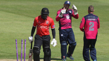 Michael Carberry walks off after being bowled