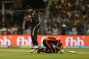 Shakib Al Hasan is distraught after being run out, Kolkata Knight Riders v Sunrisers Hyderabad, IPL 2018, Qualifier 2, Kolkata, May 25, 2018