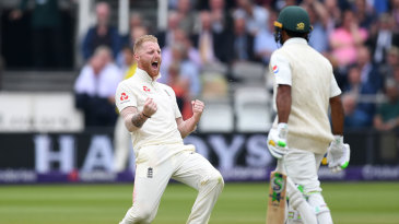 Ben Stokes celebrates the wicket of Asad Shafiq