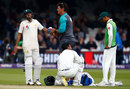 Babar Azam had to retire hurt after taking a blow on the forearm, England v Pakistan, 1st Test, Lord's, 2nd day, May 25, 2018