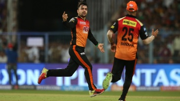 Rashid Khan celebrates Robin Uthappa's wicket