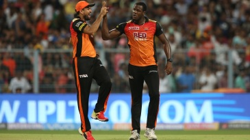 Carlos Brathwaite is congratulated upon dismissing Shubman Gill