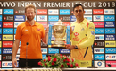Kane Williamson and MS Dhoni pose with the IPL 2018 trophy at the pre-final press conference, Chennai Super Kings v Sunrisers Hyderabad, IPL 2018, Mumbai, May 26, 2018