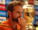 Kane Williamson cut a meditative figure with the IPL trophy in the backdrop, Chennai Super Kings v Sunrisers Hyderabad, IPL 2018, Mumbai, May 26, 2018
