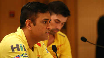 MS Dhoni addresses the media at the pre-final press conference