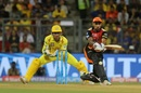 Shikhar Dhawan prepares to sweep the ball, Chennai Super Kings v Sunrisers Hyderabad, IPL 2018 final, Mumbai, May 27, 2018