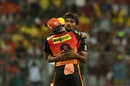 Sandeep Sharma is congratulated upon dismissing Faf du Plessis, Chennai Super Kings v Sunrisers Hyderabad, IPL 2018 final, Mumbai, May 27, 2018