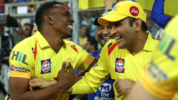 Dwayne Bravo and MS Dhoni share a laugh