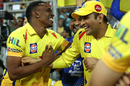 Dwayne Bravo and MS Dhoni share a laugh, Chennai Super Kings v Sunrisers Hyderabad, IPL 2018, final, Mumbai, May 27, 2018