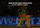 Graphic: Shane Watson took 11 balls to get off the mark, before racing to a 51-ball hundred