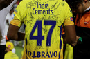 Can you identify the signatures on Dwayne Bravo's jersey?, Chennai Super Kings v Sunrisers Hyderabad, IPL 2018, final, Mumbai, May 27, 2018