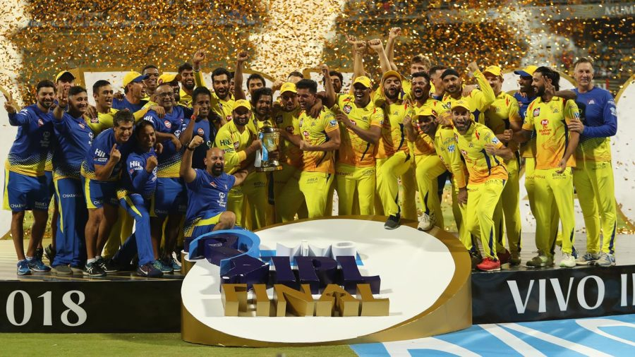 The CSK team pose with the trophy
