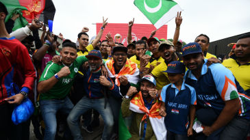 Cricket fans in East London gather at an event to mark one year until the 2019 World Cup