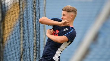 Sam Curran bowls in the nets