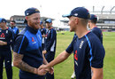 Ben Stokes shakes hands with Sam Curran, his replacement for the second Test, England v Pakistan, 2nd Test, Headingley, June 1, 2018