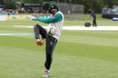 Saad Ali kicks a football around with his team-mates during a rain delay, Ireland v Pakistan, Only Test, Malahide, 1st day, May 11, 2018