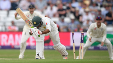 Sarfraz Ahmed was bowled by James Anderson