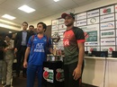 The two captains, Shakib Al Hasan and Asghar Stanikzai, pose with the series trophy, Afghanistan v Bangladesh T20Is, Dehradun, June 2, 2018