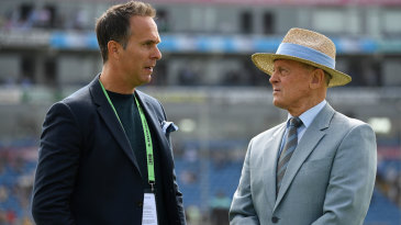Michael Vaughan and TMS colleague Geoffrey Boycott