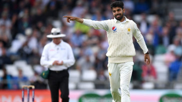 Shadab Khan celebrates his first wicket in the match