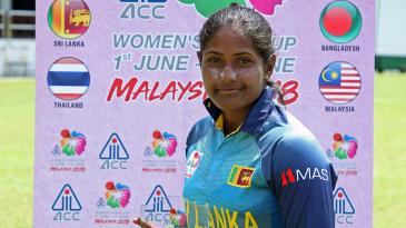 Sugandika Kumari poses with the Player-of-the-Match award