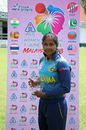 Sugandika Kumari poses with the Player-of-the-Match award, Bangladesh v Sri Lanka, Women's T20 Asia Cup 2018, May 3, 2018, Kuala Lumpur