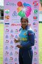 Sugandika Kumari poses with the Player-of-the-Match award, Bangladesh v Sri Lanka, Women's T20 Asia Cup 2018, May 3, 2018, Kuala Lumpur
