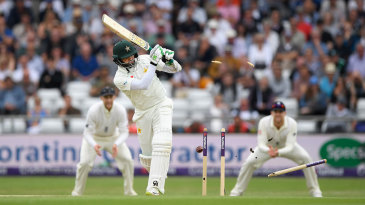 Azhar Ali's middle stump goes flying