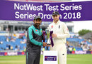 Sarfraz Ahmed and Joe Root with the shared series trophy, England v Pakistan, 2nd Test, Headingley, June 3, 2018