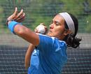 Shikha Pandey sizes up her target area, India v Australia, Baroda, March 14, 2018