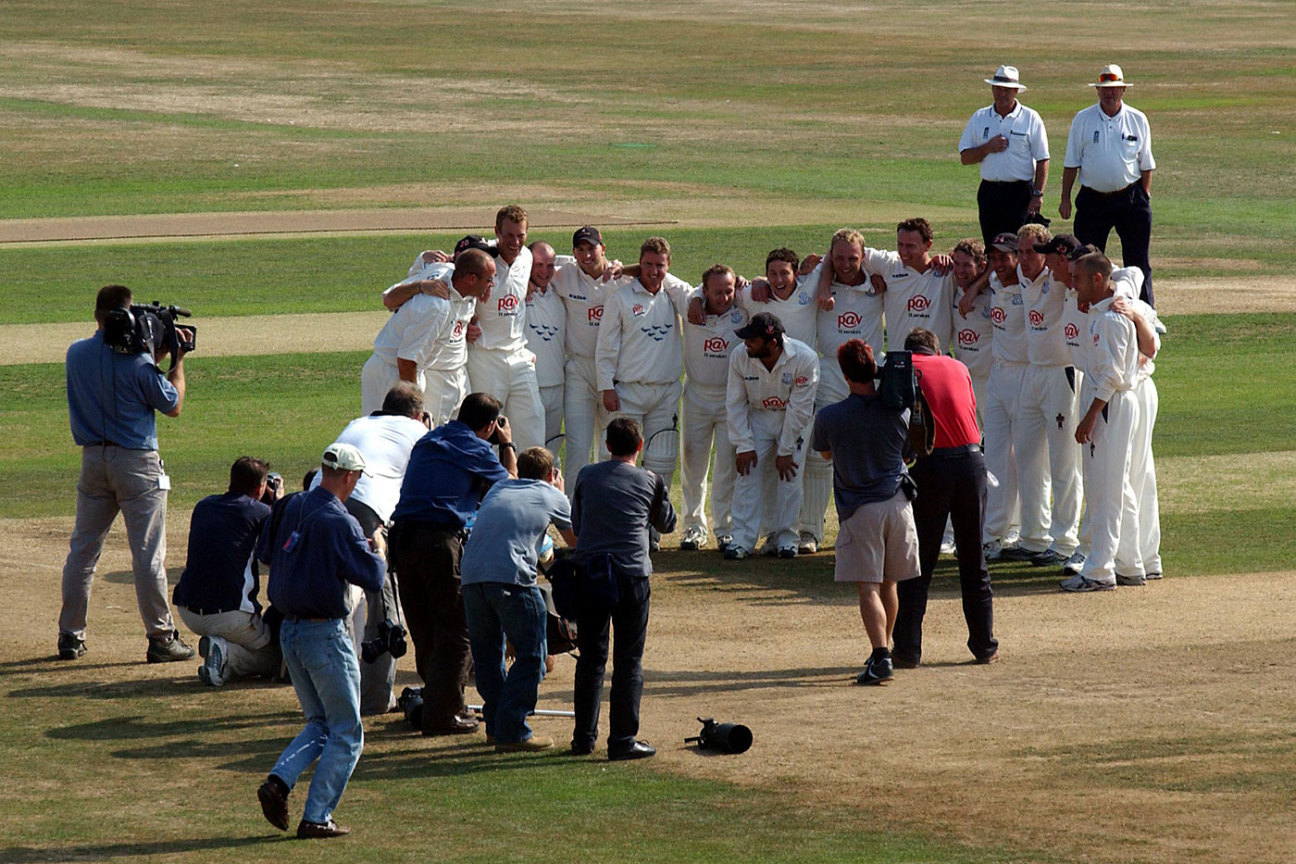 Just can't wait: Sussex celebrate their 2003 title win in the middle of their last game, against Leicestershire